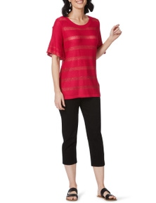 Rockmans Short Sleeve Sequin Stripe Knit