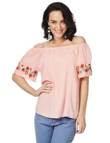 Rockmans Short Sleeve Malibu Pink Off Shoulder Top