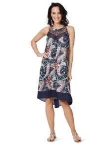 Rockmans Sleeveless Paisley Lace Embelished Dress