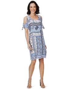 Rockmans Short Sleeve Tie Tile Print Dress