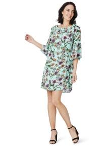 Rockmans Elbow Sleeve Off Shoulder Print Dress