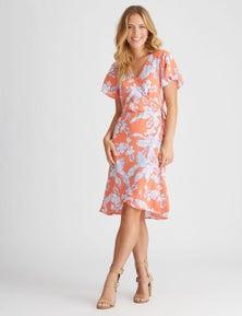 Rockmans Short Sleeve Floral Print Wrap Dress