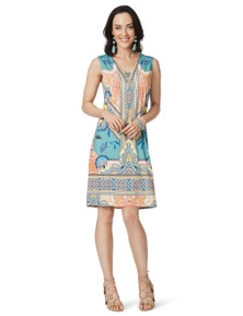 Rockmans Extended Sleeve Ring Detail Print Dress