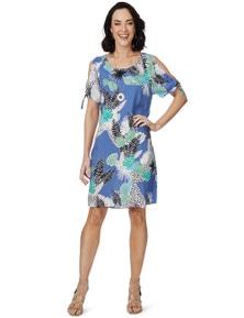 Rockmans Short Sleeve Tie Tropical Print Dress