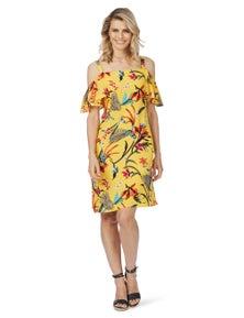 Rockmans Short Sleeve Paradise Print Dress