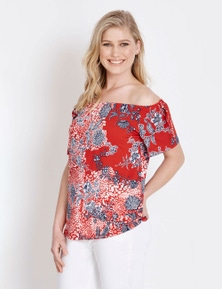 Rockmans Off Shoulder Elbow Sleeve Salsa Print Top