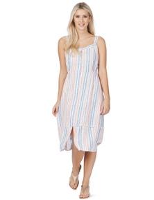 Rockmans Sleeveless Stripe Linen Dress