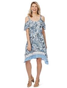 Rockmans Shortsleeve Hanky Hem Border Print Dress