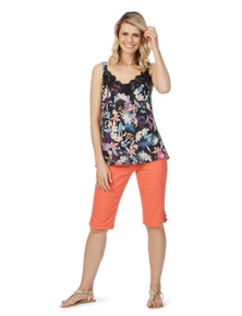 Rockmans Sleeveless Tropical Print Lace Cami