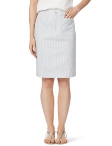 Rockmans Double Button Striped Denim Skirt