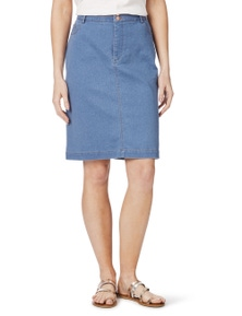 Rockmans Double Button Blue Wash Denim Skirt