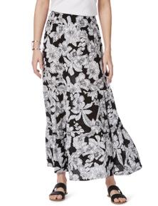 Rockmans Mono Floral Print Maxi Skirt