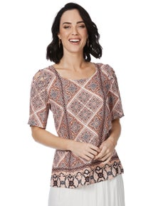 Rockmans Short Sleeve Lace Up Print Tee