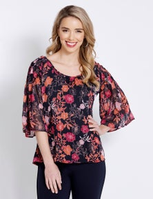 Table Eight Elbow Smock Sleeve Floral Print Blouse