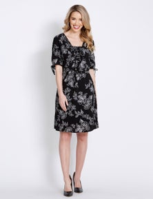 Table Eight Elbow Sleeve Lattice Mono Floral Dress