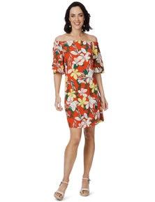 Rockmans Elbow Sleeve Oversized Floral Print Dress