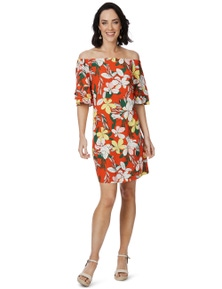 Rockmans Elbow Sleeve Oversized Floral Print Dress