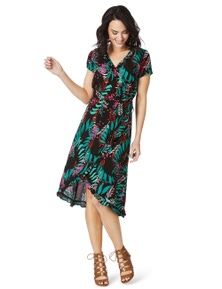 Rockmans Shortsleeve Fiesta Floral Wrap Dress