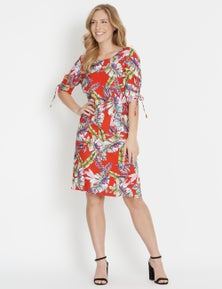 Rockmans Elbow Sleeve Ruched Tropical Dress