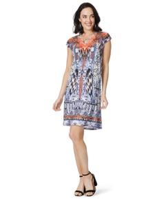 Rockmans Extended Sleeve Border Print Dress