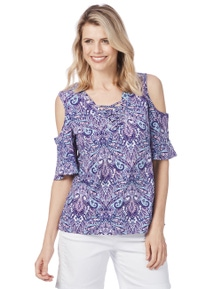 Rockmans Elbow Sleeve Lace Up Pretty Print Top