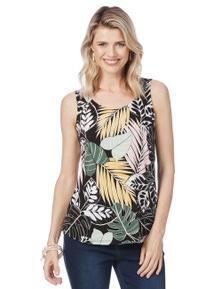 Rockmans Sleeveless Palm Print Top