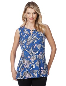Rockmans Sleeveless Paisley Bling Detail Top