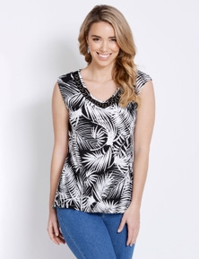 Rockmans Extended Sleeve Ring Trim Print Top