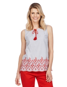 Rockmans Sleeveless Embroidered Festive Blouse
