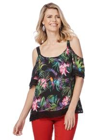 Rockmans Elbow Sleeve Floral Lace Trim Top