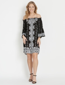 Rockmans Elbow Sleeve Off Shoulder Boho Dress