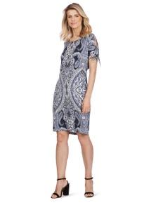 Rockmans Shortsleeve Blue Paisley Print Dress