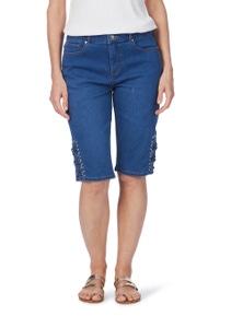 Rockmans Knee Length Studded Lace Up Denim Short