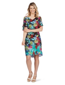Rockmans Short Sleeve Printed Kaftan Dress