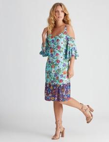 Rockmans Cold Shoulder Colour Floral Print Dress