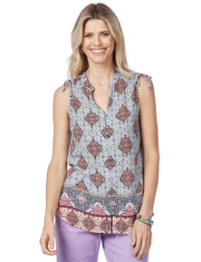 Rockmans Sleeveless Arabian Print Blouse