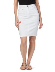 Rockmans Embroidered Poppy Skirt