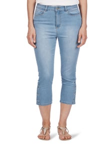 Rockmans Crop 365 Snap Hem Slim Leg Jean