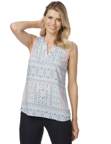 Rockmans Sleeveless Lace Back Print Top