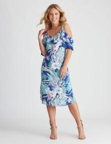 Rockmans Elbow Ruffle Sleeve Midnight Floral Dress