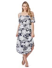 Rockmans Short Sleeve Mono Floral Print Dress