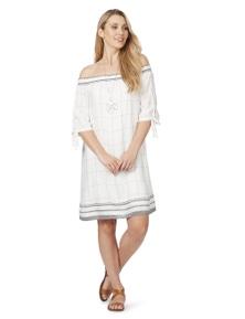 Rockmans Elbow Sleeve Check Off Shoulder Dress
