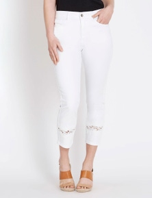 Rockmans Capri Straight Leg Lace Insert Jean