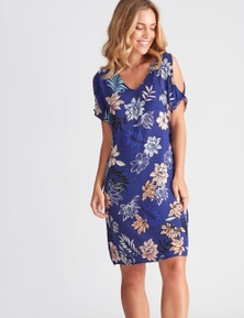 Rockmans Elbow Sleeve Split Shoulder Floral Dress