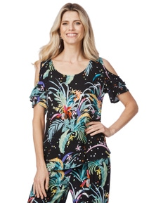 Rockmans Short Sleeve Tropical Spot Print Top