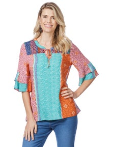 Rockmans Elbow Sleeve Paisley Shirred Blouse