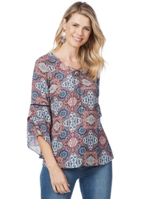 Rockmans 3/4 Sleeve Tapestry Flare Blouse
