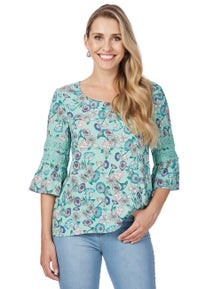Rockmans 3/4 Sleeve Lace Inset Green Floral Blouse