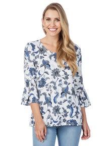 Rockmans 3/4 Flare Sleeve Blue Floral Blouse