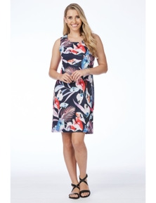 Rockmans Sleeveless Purple Tropical Dress
